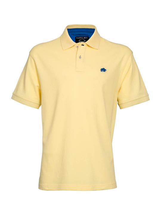 model wearing high quality yellow polo shirt