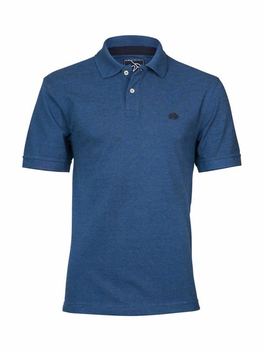 model wearing high quality denim blue polo shirt
