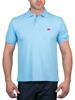 model wearing high quality sky blue polo shirt