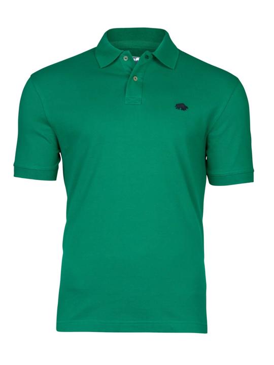 model wearing high quality green polo shirt
