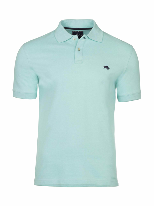 model wearing high quality mint polo shirt