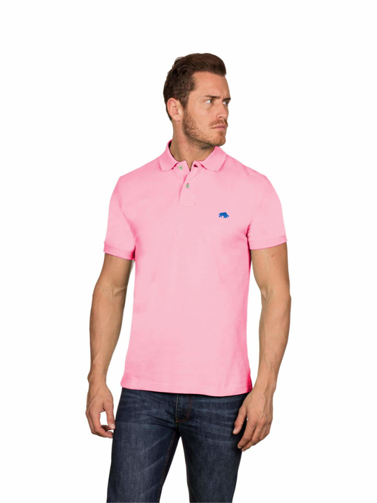model wearing high quality pink polo shirt