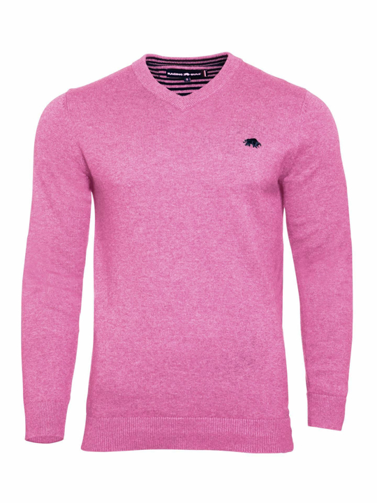 Raging Bull V-Neck Cotton-Cashmere Sweater - Pink
