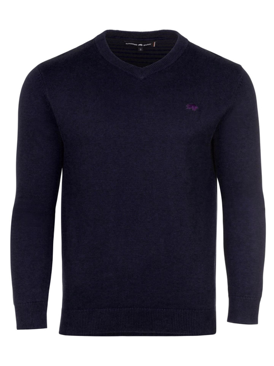 model wearing high quality navy v-neck jumper