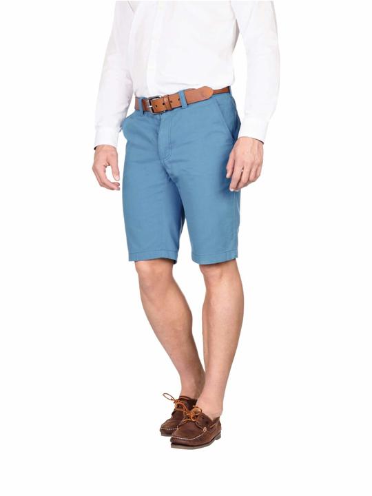 model wearing high quality blue chino shorts
