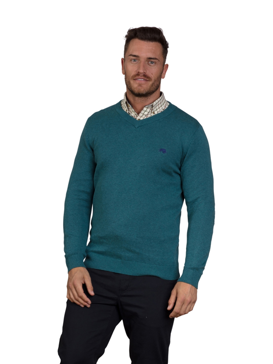 Raging Bull V-Neck Cotton Cashmere Sweater – Petrol