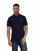 model wearing high quality navy polo shirt