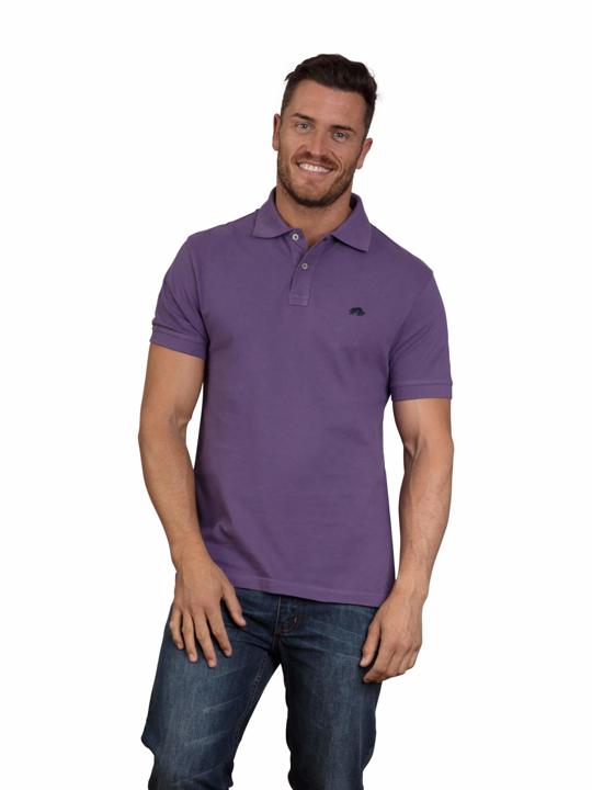 model wearing high quality purple polo shirt