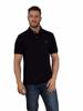 model wearing high quality black polo shirt