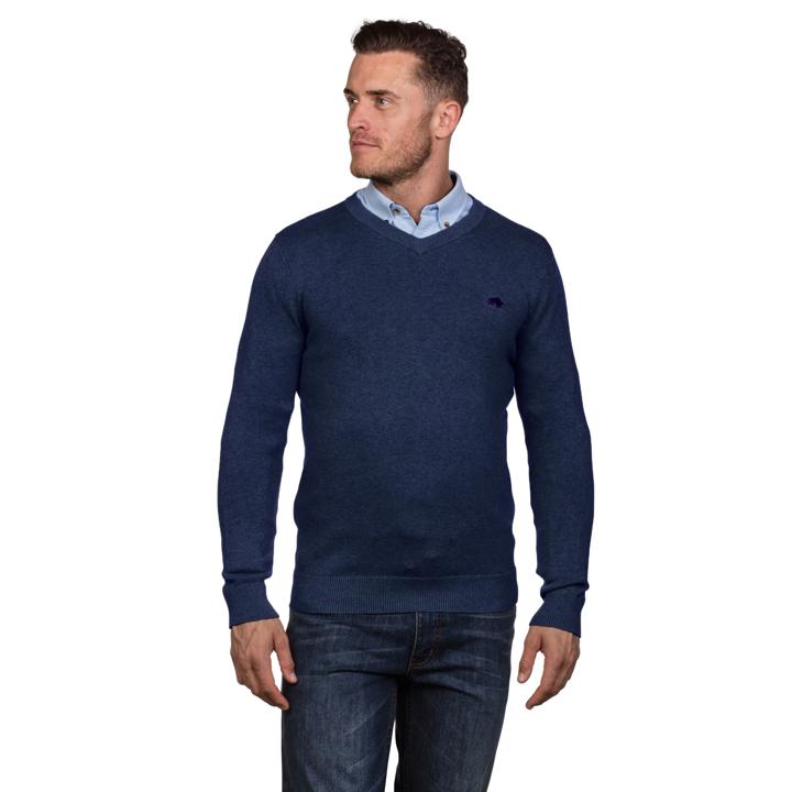 Raging Bull - V-Neck Cotton Cashmere Sweater - Smart Denim