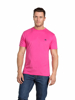 Model wearing Quality bright pink t-shirt