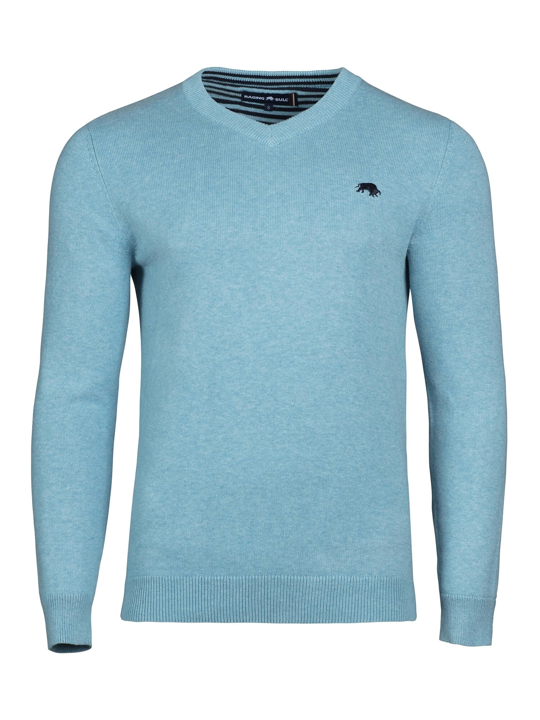 high quality blue v-neck jumper