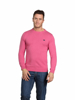 model wearing high quality pink crew neck jumper