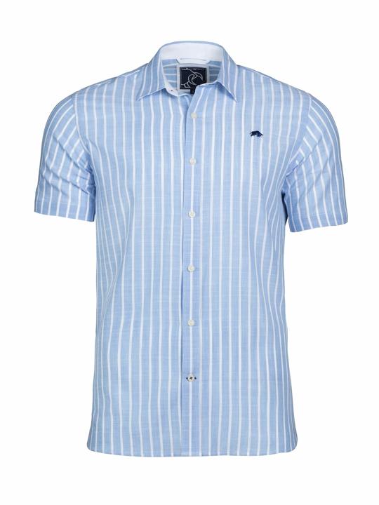 Raging Bull - Big & Tall - Short Sleeve Bengal Stripe Shirt - Sky Blue