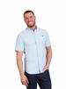model wearing high quality blue short sleeve poplin shirt