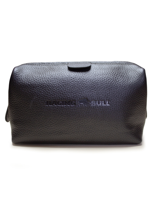 Raging Bull Leather Wash Bag - Black