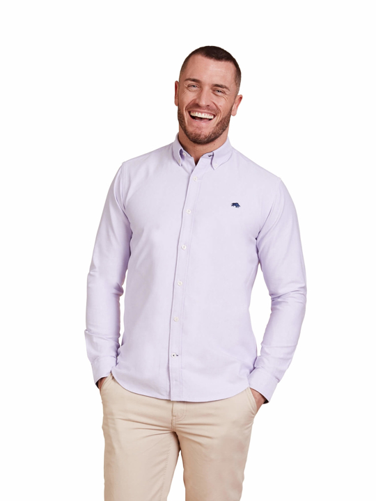 model wearing high quality purple long sleeve shirt