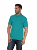 model wearing high quality teal polo shirt