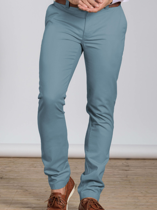 model wearing high quality blue chino trousers