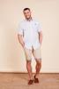 model wearing high quality tan chino shorts