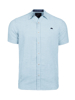 Raging Bull Short Sleeve Linen Look Gingham Shirt - Sky Blue