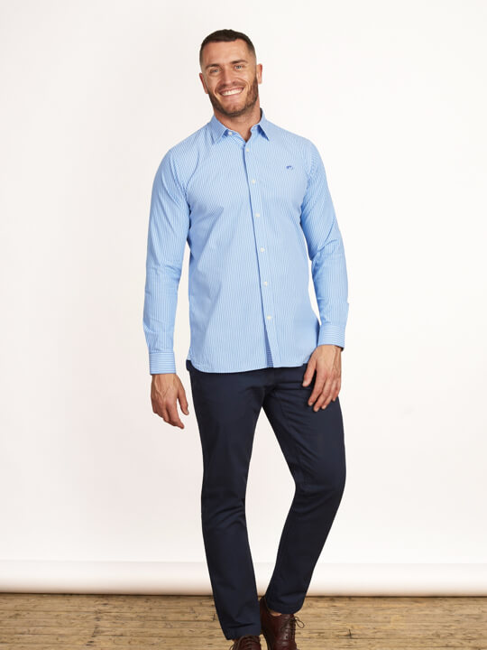 Raging Bull - Long Sleeve Pinstripe Poplin Shirt - Sky Blue