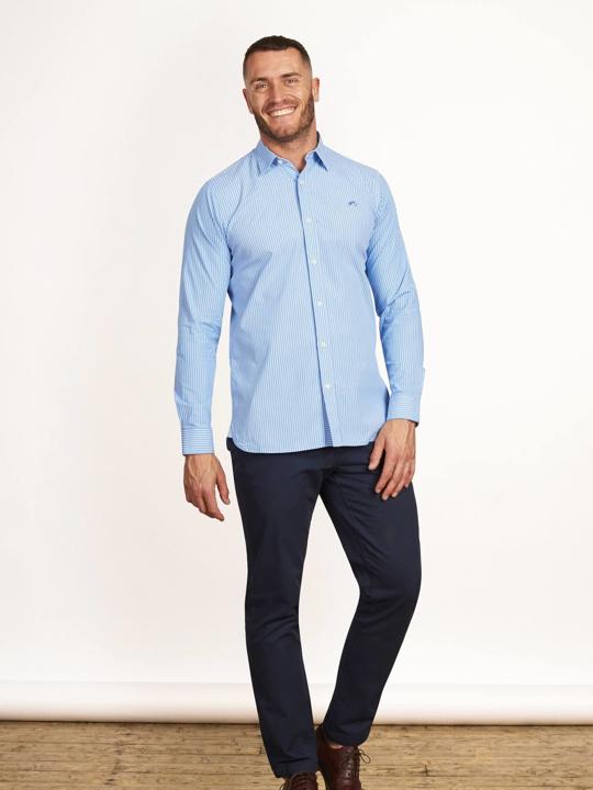 Raging Bull - Big & Tall - Long Sleeve Pinstripe Poplin Shirt - Sky Blue