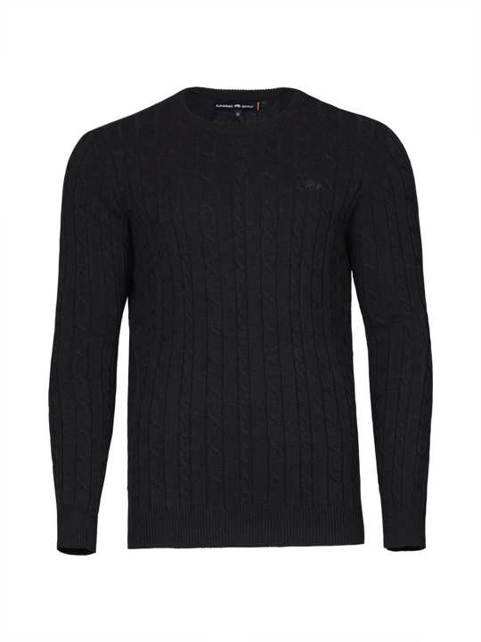 Raging Bull - Big & Tall - Signature Cable Knit Crew Neck  - Navy