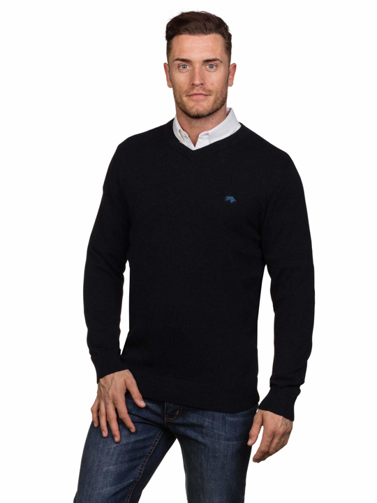 model wearing high quality black v-neck jumper