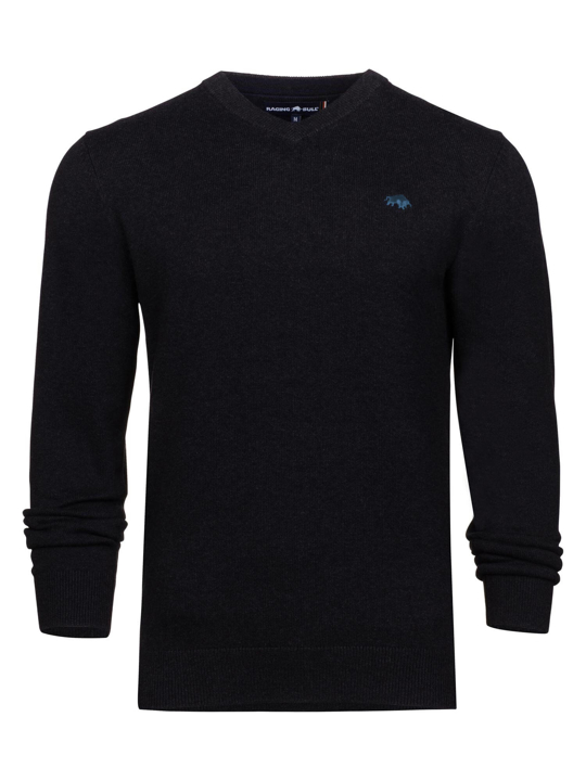high quality black v-neck jumper