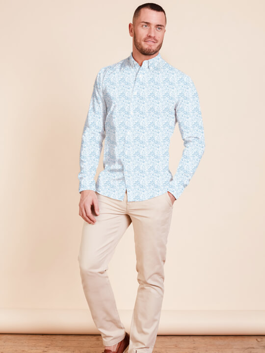 Raging Bull - Long Sleeve Floral Print Shirt - White