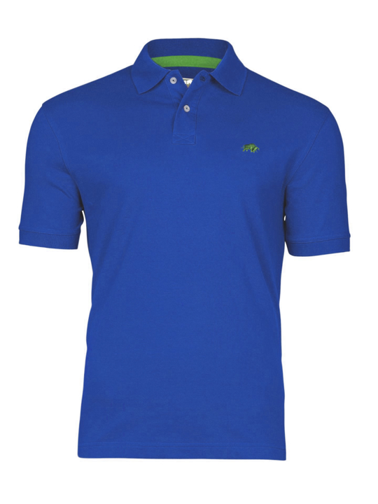 model wearing high quality cobalt blue polo shirt