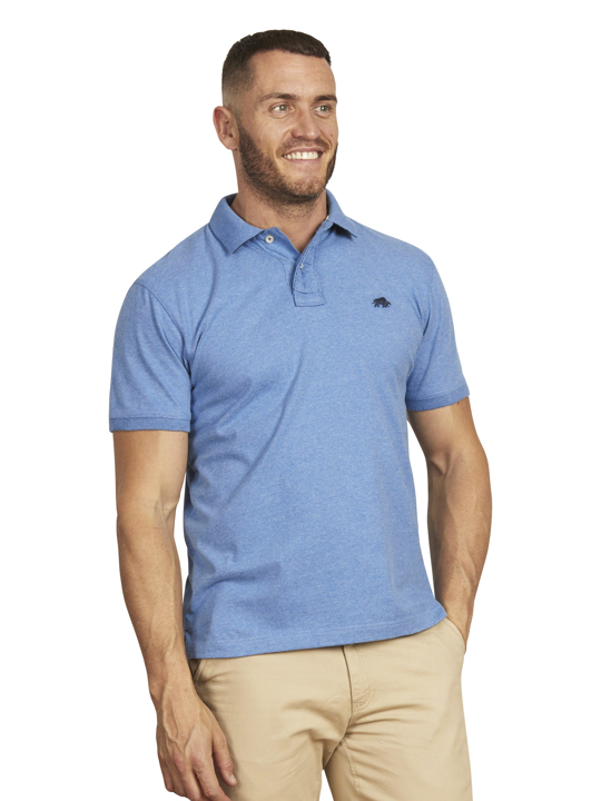 high quality mid blue jersey polo shirt