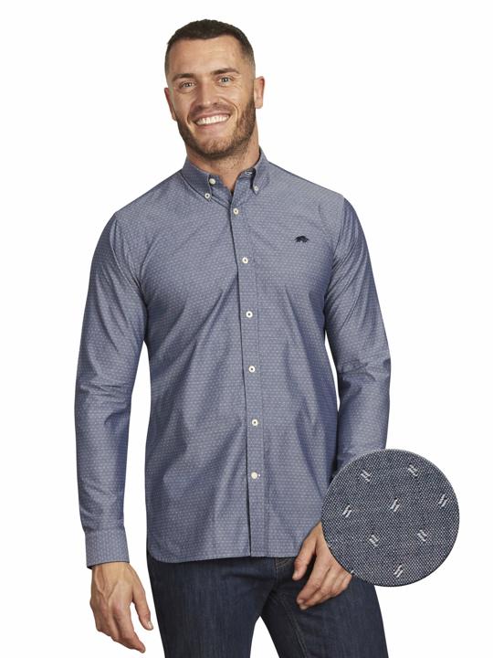 Raging Bull Big & Tall - Long Sleeve Chambray Dobby Shirt - Denim Blue