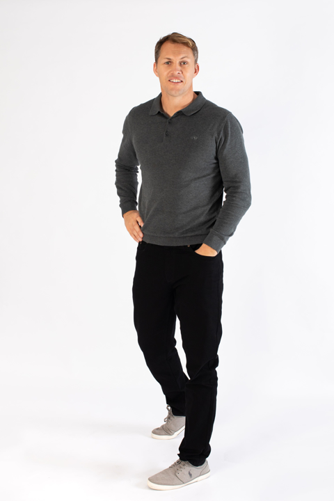 Raging Bull Long Sleeve Signature Knitted Polo - Charcoal