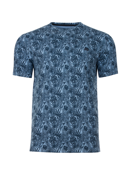 Raging Bull - Big & Tall Leaf Print T-Shirt - Navy