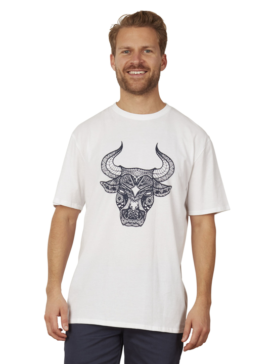 Raging Bull - Big & Tall Tribal Bull Tee - White