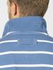 Raging Bull Stripe Quarter Zip Pique - Mid Blue