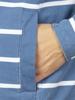 Raging Bull Big & Tall Stripe Quarter Zip Pique - Mid Blue