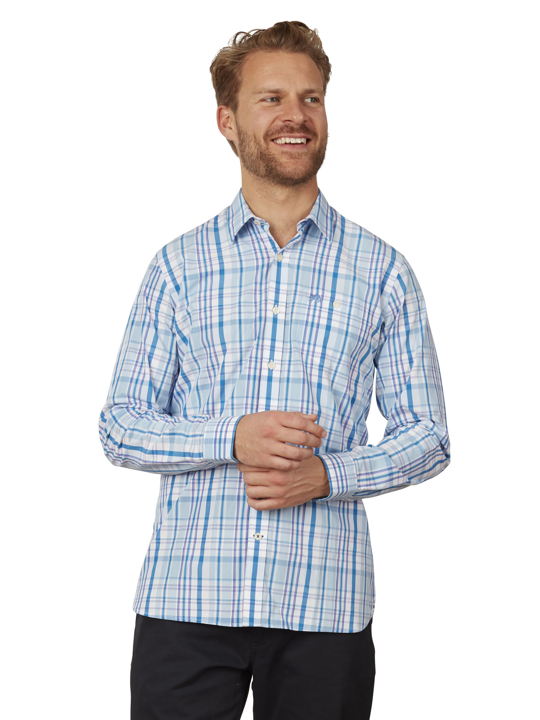 Raging Bull - Long Sleeve Check Shirt - Sky Blue
