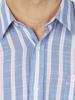 Raging Bull Short Sleeve Stripe Linen Shirt - Mid Blue