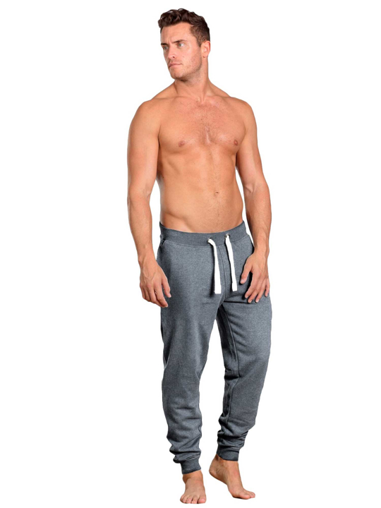 model wearing high quality dark grey cuffed sweatpants