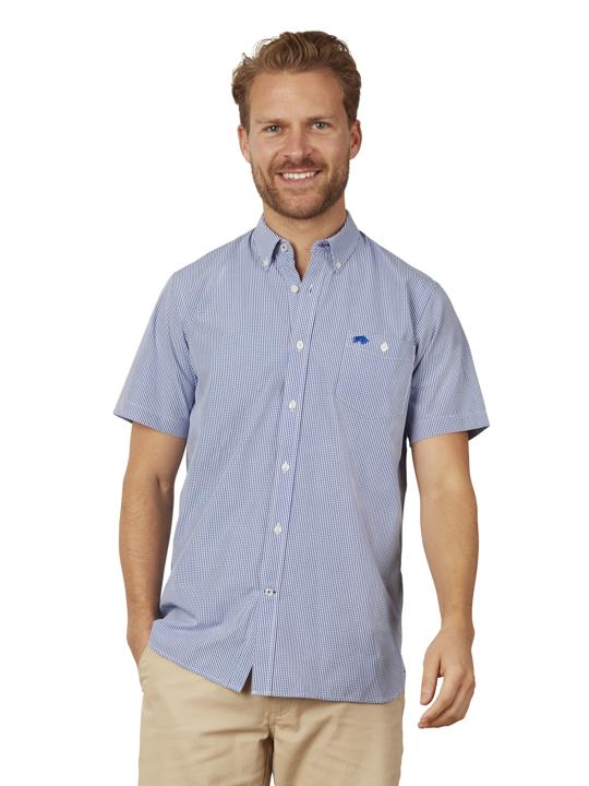Raging Bull - Short Sleeve Gingham Shirt - Navy