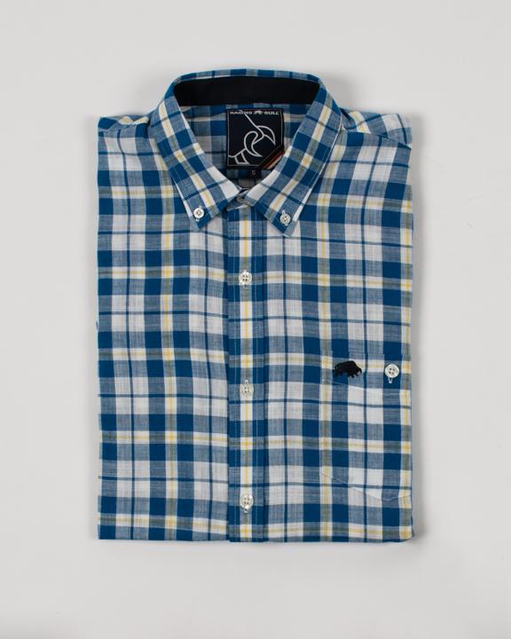 Raging Bull - Big & Tall Short Sleeve Check Shirt - Mid Blue