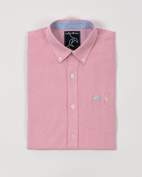 Raging Bull - Short Sleeve Gingham Dobby Shirt - Pink