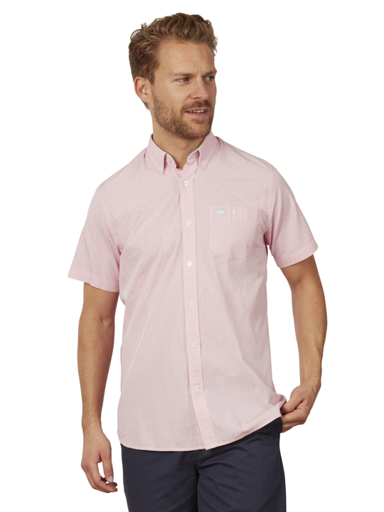 Raging Bull - Big & Tall Short Sleeve Gingham Dobby Shirt - Pink