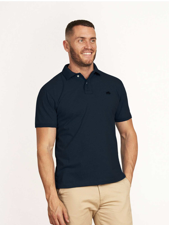 high quality navy jersey polo