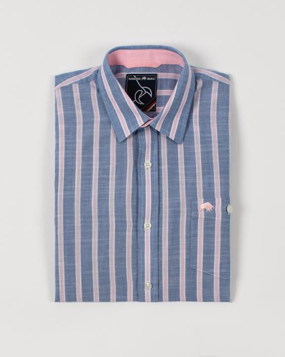Raging Bull - Big & Tall Short Sleeve Stripe Linen Shirt - Mid Blue