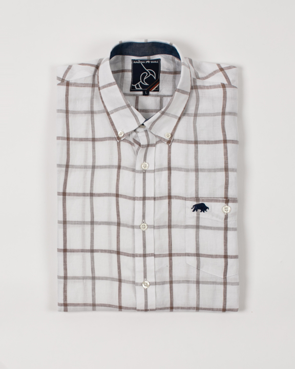 Raging Bull Big & Tall Short Sleeve Window Pane Shirt - White