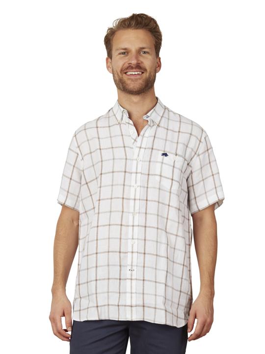 Raging Bull - Big & Tall Short Sleeve Window Pane Shirt - White